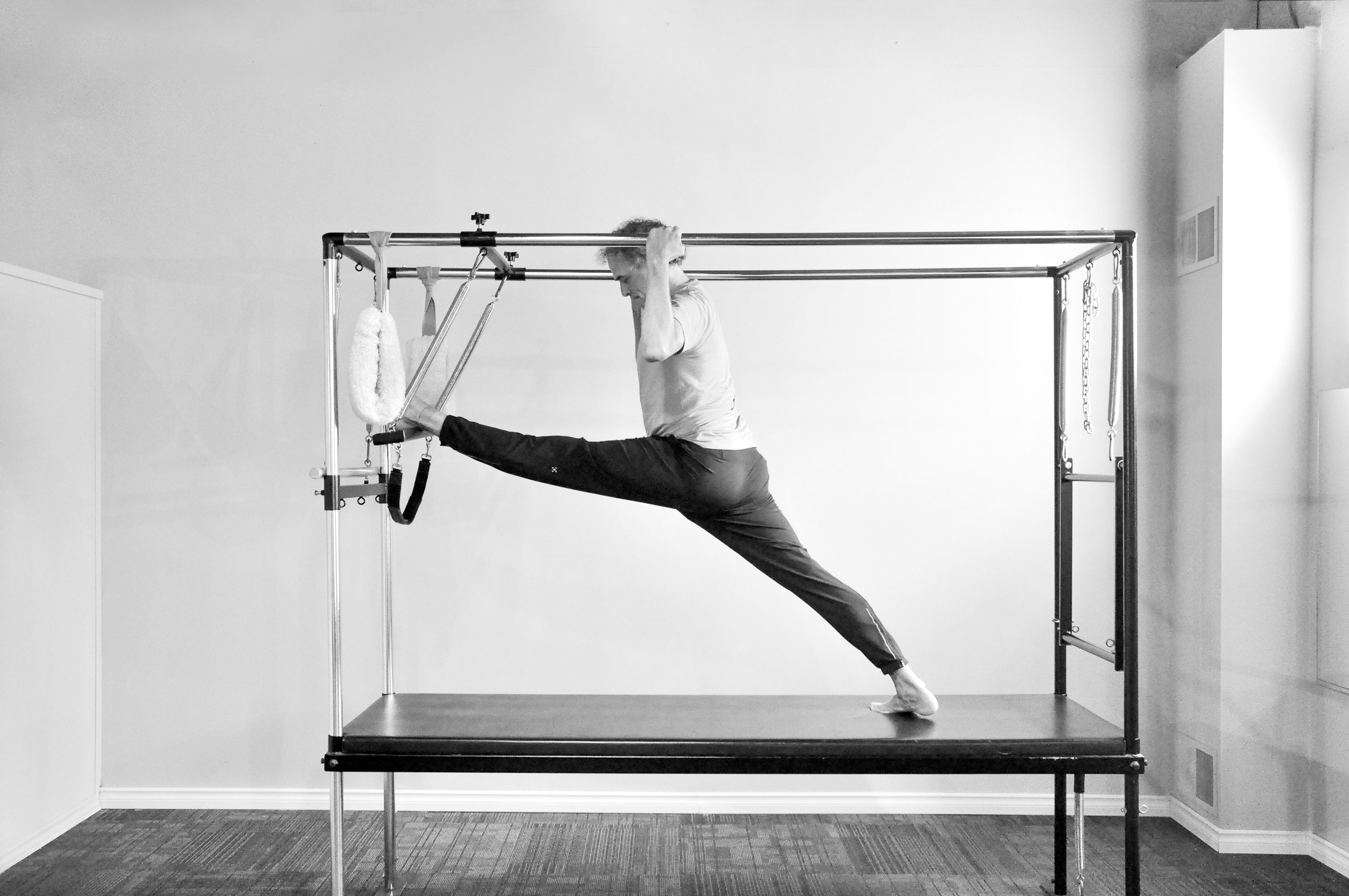 Pilates Cadillac pose, Pilates Works, Oakville, Ontario