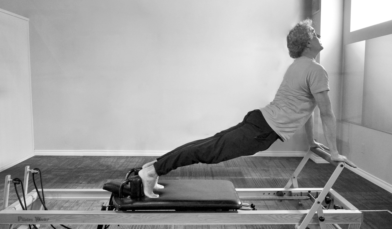 reformer pose, Pilates Works, Oakville, Ontario
