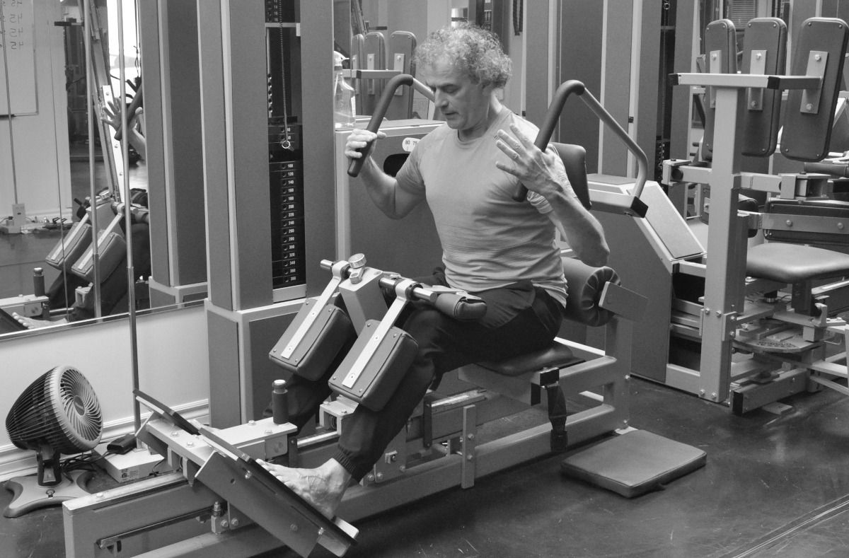 A MedX lumbar extension machine in use at Pilates Works, Oakville, Ontario